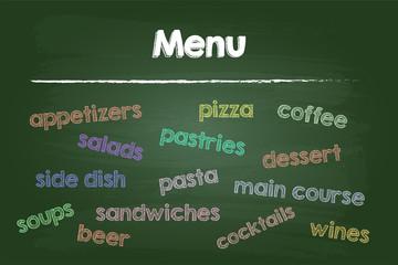 Restaurant Menu Food And Drinks On Green Board
