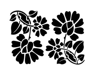 Black flower pattern. Vector illustration