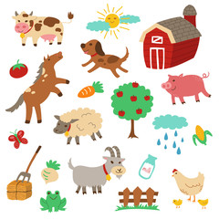 Farm Animals Cartoon Vector Set