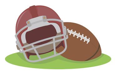 American football. Helmet and ball