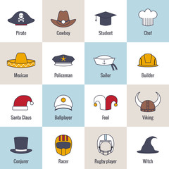Icons Hat Flat Line