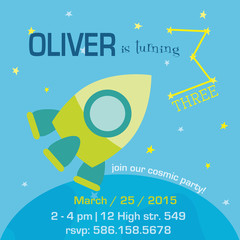 Birthday Invitation Card - Space and Rocket Theme