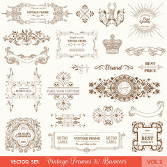 Vector Set: Vintage Frames and Banners, Calligraphic Elements