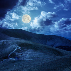 lake at the mountain top in moon light
