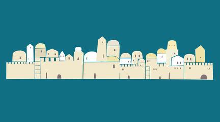 OLd City, Middle East Town, Jerusalem, Vector Illustration,
