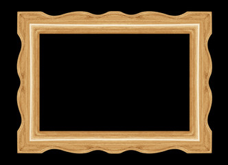 Wooden picture frame isolated on black