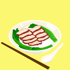 A illustration of Hong Kong style food BBQ pork with rice