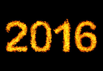2016 year text made of flames