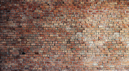 Empty Red Brick Wall Background