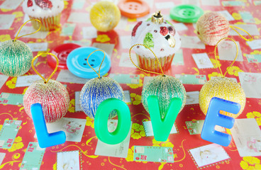 Decorative letters forming word LOVE