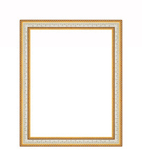 Picture frame carved wood frame Isolated on white background.