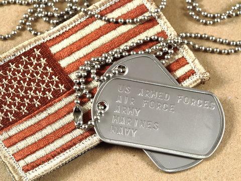 Military dog tags and camoflage flag