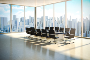 3d office with beautiful daylight and city skyline