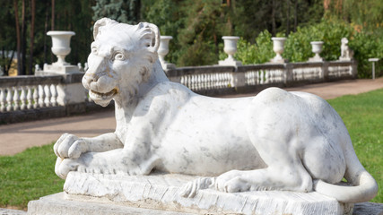 marble sculpture of a lion