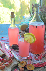 Sweet rhubarb juice in the glass bottle