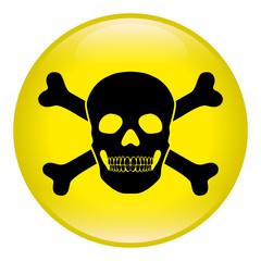 Gelb-schwarzer, runder Gefahren-Button, Vektor, freigestellt