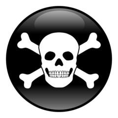 Schwarz-weißer, runder Gefahren-Button, Vektor, freigestellt