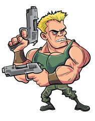 Cartoon muscled soldier with two pistols