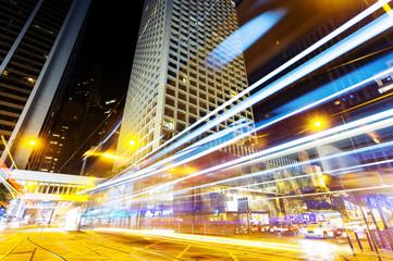 urban city traffic light trails at night