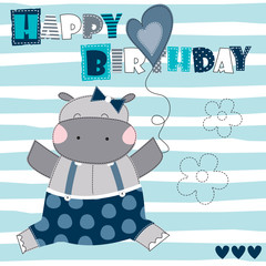 happy birthday hippo vector illustration