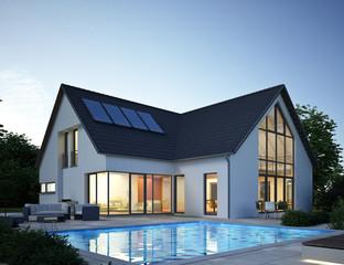 Wohnhaus mit Pool Abendstimmung