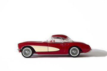 Red and Cream Sports Car on white background