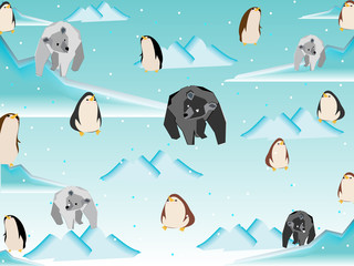 Polar bear and penguin in north pole pattern