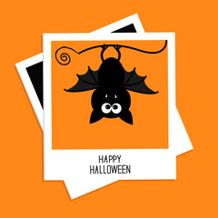 Instant photo with bat.  Halloween card. Flat