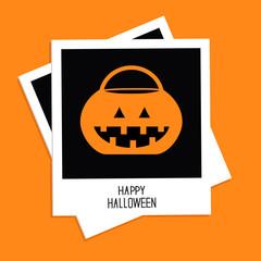 Instant photo with rrick or treat pumpkin bucket. Halloween