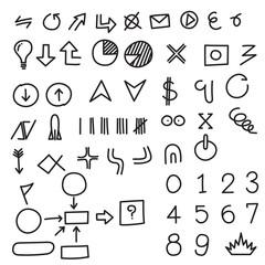 Set of hand drawing symbol, vector format