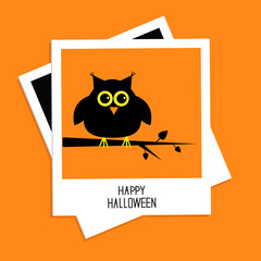Instant photo with owl. Halloween Flat