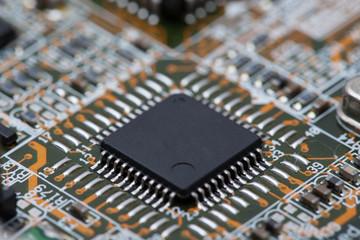 Black IC on Circuit Board