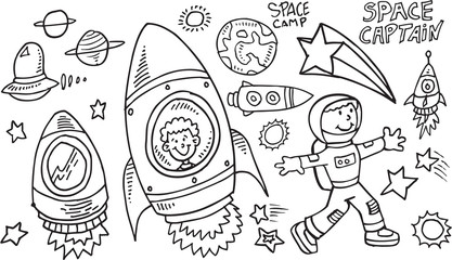 Garden Poster Cartoon draw Outer Space Doodle Vector Illustration Art Set