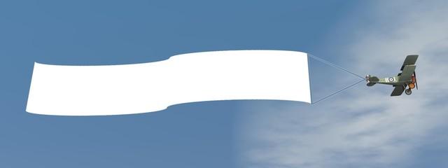 Türaufkleber Flugzeug Biplane aircraft pulling advertisement banner - 3D render