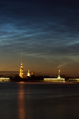 View of Peter and Paul cathedral, St.Petersburg, Russia in the w