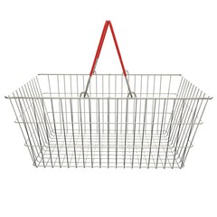 Empty basket with red rubberized handles