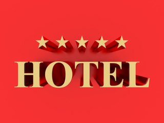 Five star hotel metallic sign on red background