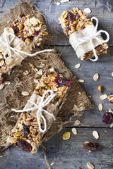 homemade rustic granola bars with handmade packaged