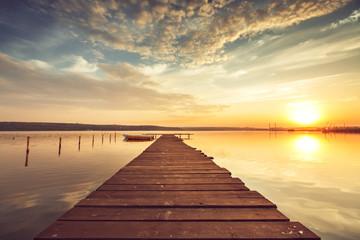 Beautiful cloudscape over the lake, sunset shot