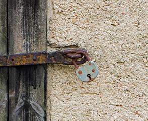 Old Lock  on the wooden door
