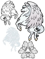 Pegasus in flight, with variations.