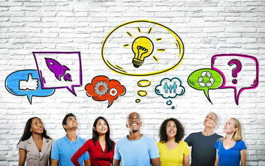 Multi-ethnic Group of People with Speech bubbles