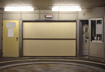 Entrance to underground car parking at night time