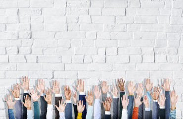 Multiethnic Group of Business Hands Raised