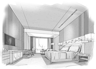 sketch design bedroom,interior design,hotel
