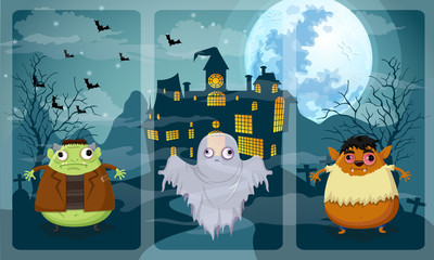 Happy halloween night vector on Frankenstein,Ghost,Werewolf
