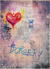 Garden Poster Imagination Retro' and romantic graffiti background