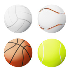 four sports ball vector set isolated