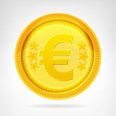 Euro coin golden currency object isolated