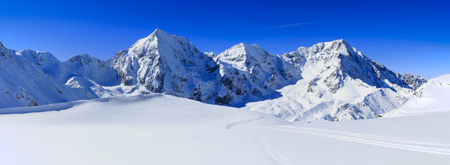 Fototapete - Winter mountains, panorama - Italian Alps